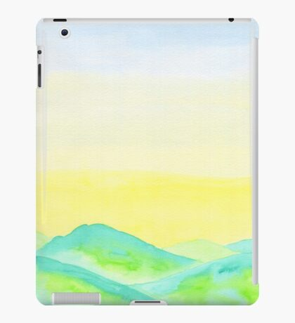 Hand-Painted Green Hills Blue Yellow Sky Watercolor Landscape iPad Case/Skin