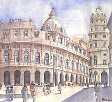 Genova, Piazza De Ferrari by Luca Massone  disegni