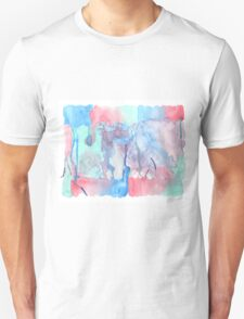 Hand-Painted Abstract Watercolor Green Red Blue Painting T-Shirt