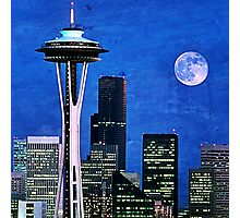 Blue Seattle Space Needle Photographic Print
