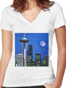 Blue Seattle Space Needle Women's Fitted V-Neck T-Shirt