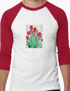 A Bouquet of Red Tulips  Men's Baseball ¾ T-Shirt