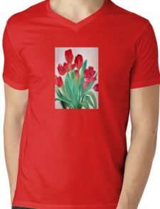 A Bouquet of Red Tulips  Mens V-Neck T-Shirt
