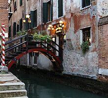 Venice, Italy - the Cheerful Christmassy Restaurant Entrance Bridge by Georgia Mizuleva