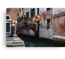 Venice, Italy - the Cheerful Christmassy Restaurant Entrance Bridge Canvas Print