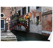 Venice, Italy - the Cheerful Christmassy Restaurant Entrance Bridge Poster
