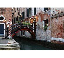 Venice, Italy - the Cheerful Christmassy Restaurant Entrance Bridge Photographic Print