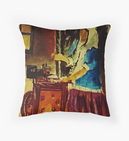 Woman holding a balance by Vermeer #3, watercolor Throw Pillow