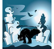 Cartoon Cemetery with Ghosts 3 Photographic Print