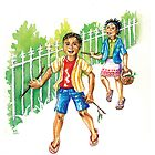 Banging sticks - cute boy and girl bang sticks on fences by didielicious
