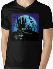 Haunted Halloween Castle 3 Mens V-Neck T-Shirt
