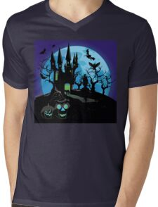 Haunted Halloween Castle 3 Mens V-Neck T-Shirt
