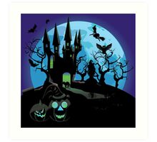 Haunted Halloween Castle 3 Art Print