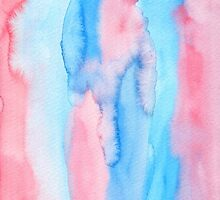 Hand-Painted Abstract Watercolor Red Blue Painting by Beverly Claire Kaiya