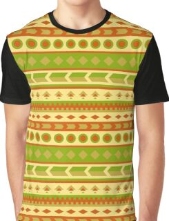 Native American Pattern in Yellow, Green, Red, Brown Graphic T-Shirt