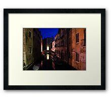 Venice, Italy - Nightscape on a Small Canal Framed Print