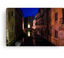 Venice, Italy - Nightscape on a Small Canal Canvas Print