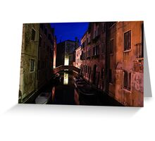 Venice, Italy - Nightscape on a Small Canal Greeting Card