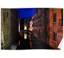 Venice, Italy - Nightscape on a Small Canal Poster