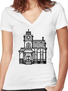 Victorian House - black & white Women's Fitted V-Neck T-Shirt