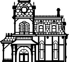 Victorian House - black & white by XOOXOO