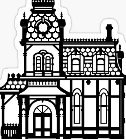 Victorian House - black & white Sticker