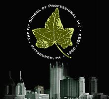 iPhone cover - Ivy leaf and Pittsburgh skyline BLACK by TheIvySchool