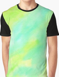 Hand-Painted Abstract Watercolor Green Yellow Painting Graphic T-Shirt