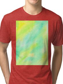 Hand-Painted Abstract Watercolor Green Yellow Painting Tri-blend T-Shirt
