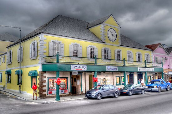 Stormy day on Bay street in Downtown Nassau, The Bahamas by Jeremy Lavender Photography