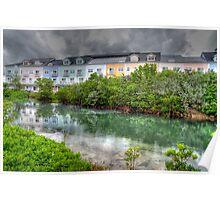 Rainy day at Sandyport Marina Village in Nassau, The Bahamas Poster