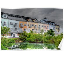 Stormy day at Sandyport Marina Village in Nassau, The Bahamas Poster