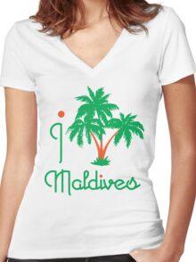 I LOVE MALDIVES T-shirt Women's Fitted V-Neck T-Shirt
