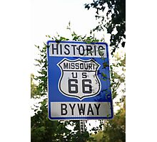Route 66 Shield in Missouri Photographic Print