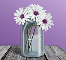 White and Purple Daisy Mason Jar by Starzraven