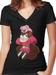 Gravity Falls - Mabel Women's Fitted V-Neck T-Shirt