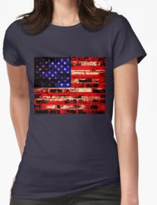 American Flag On Old Brick Wall Womens Fitted T-Shirt
