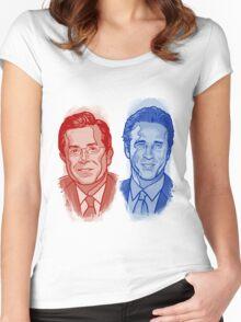 Jon Stewart and Stephen Colbert Women's Fitted Scoop T-Shirt