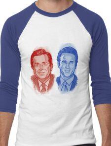 Jon Stewart and Stephen Colbert Men's Baseball ¾ T-Shirt