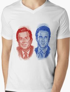 Jon Stewart and Stephen Colbert Mens V-Neck T-Shirt