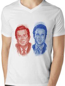 Jon Stewart and Stephen Colbert Mens V-Neck T-Shirt