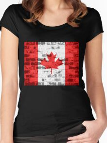 Canada Flag Vintage Women's Fitted Scoop T-Shirt