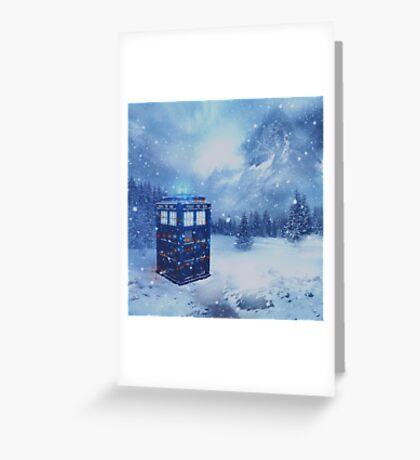 Tardis in Winterland Greeting Card