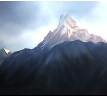 mount. fishtail nepal. painting by Basu Kshitiz  by basukshitiz