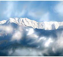 mountain painting by basu kshitiz by basukshitiz