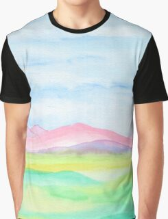 Hand-Painted Watercolor Pink Mountains Blue Sky Yellow Green Field Landscape Graphic T-Shirt