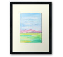 Hand-Painted Watercolor Pink Mountains Blue Sky Yellow Green Field Landscape Framed Print
