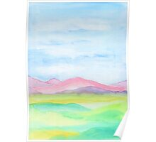 Hand-Painted Watercolor Pink Mountains Blue Sky Yellow Green Field Landscape Poster