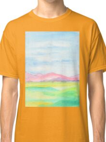Hand-Painted Watercolor Pink Mountains Blue Sky Yellow Green Field Landscape Classic T-Shirt