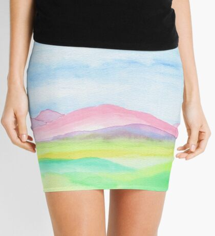 Hand-Painted Watercolor Pink Mountains Blue Sky Yellow Green Field Landscape Mini Skirt